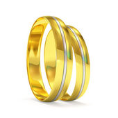 Golden Wedding Rings with a platinum insert (Hight Resolution 3D Image) — Foto Stock