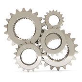 Silver Gears on white background — Stock Photo