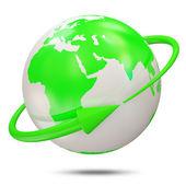 Zielony kula ziemska z zieloną strzałką na białym tle — Zdjęcie stockowe