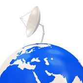 Dish Antenna on Earth Globe isolated on white background — Stock Photo