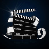 Cinema Clap with Film Strip isolated on black background — Stock Photo