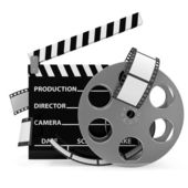 Cinema Clap and Film Roll isolated on white background — Stock Photo
