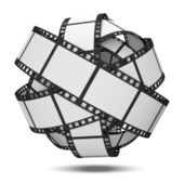 Abstract Sphere From Blank Film Strip isolated on white background — Stock Photo