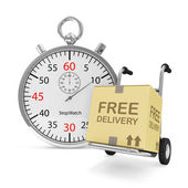 Hand truck with a box and Stopwatch on white background (Express Delivery Concept) — Stock Photo
