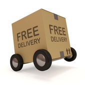 Carton Box on wheels on white background (Free Delivery Concept) — Stock Photo