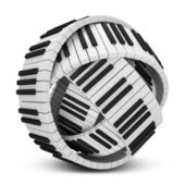 Abstract Sphere from Piano Keys isolated on white background — Stock Photo