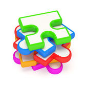 Colorful Puzzle Piece on white background — Stock Photo