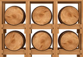 3d shelf with six wooden barrels on white background — Stock Photo