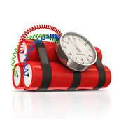 Dynamite Bomb with Clock Timer on white background — Stock Photo