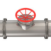 Metal Pipeline with Red Valve isolated on white background — Stok fotoğraf