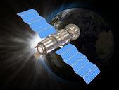 卫星在空间中的 3d 插图 — 图库照片