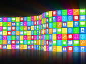 Abstract APPS Background with Glowing Rays — Stock Photo