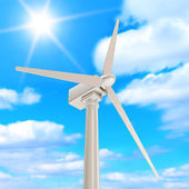 Wind Turbine on beautiful clouds background with sunshine — Stock Photo