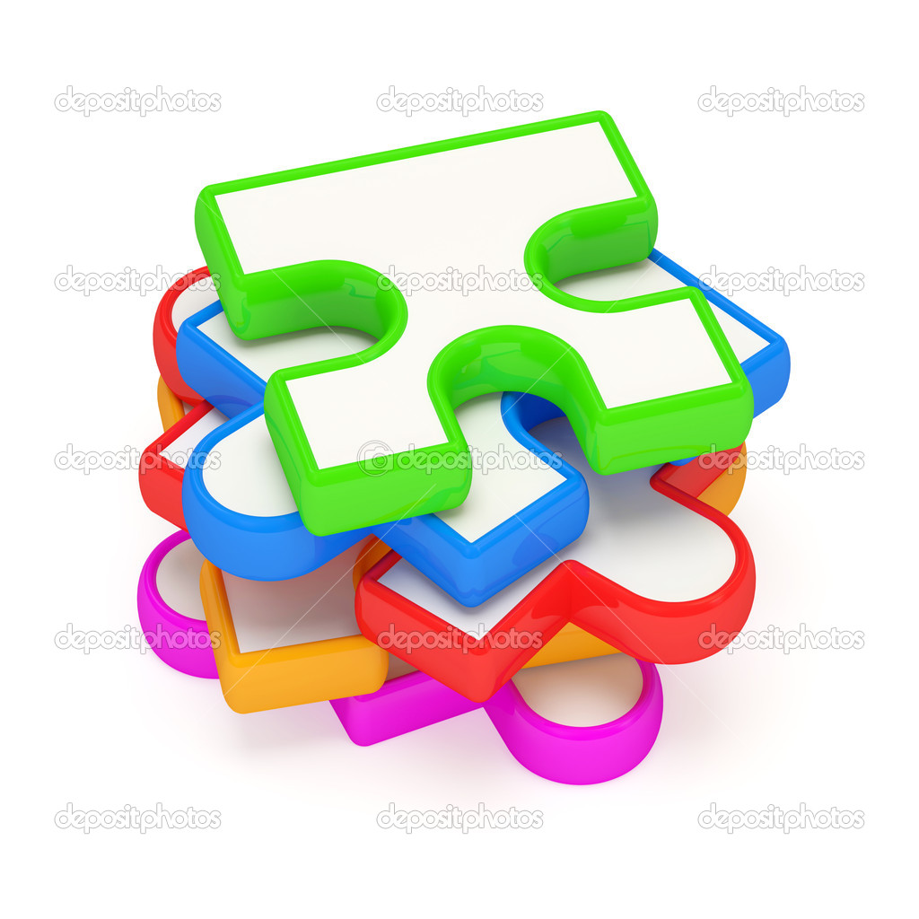 Colorful Puzzle Piece Background Colorful puzzle piece on white