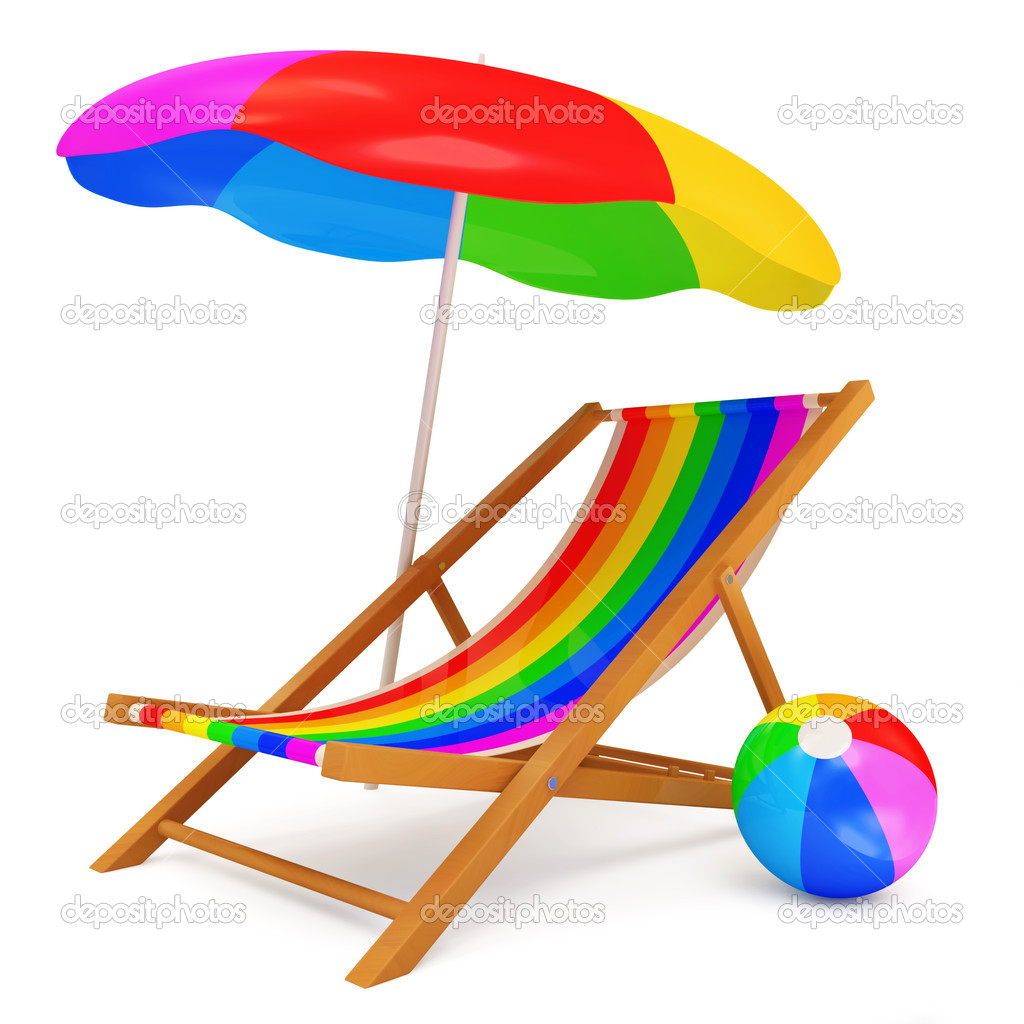 liegestuhl mit sonnenschirm und bunten wasserball isoliert auf wei em hintergrund stockfoto. Black Bedroom Furniture Sets. Home Design Ideas