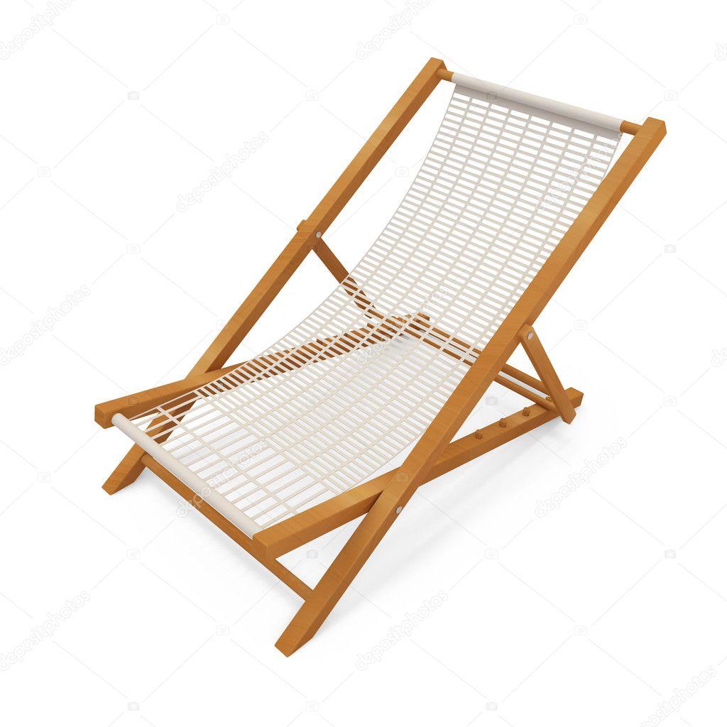Cadeira de praia de madeira no fundo branco — Fotografias de Stock  #8D4C1B 1024x1024