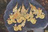 Pittura al tempio thailandese di arte pubblica — Foto Stock