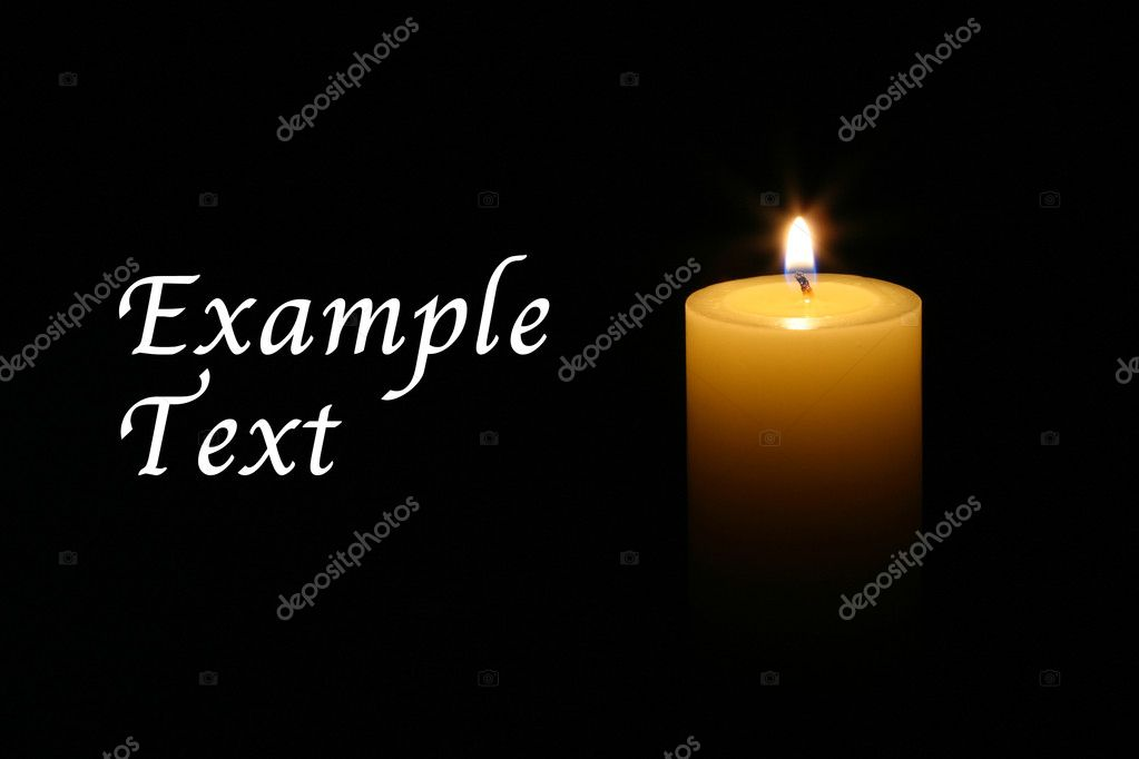 A single burning candle isolated with black background — Stock Photo #9655244