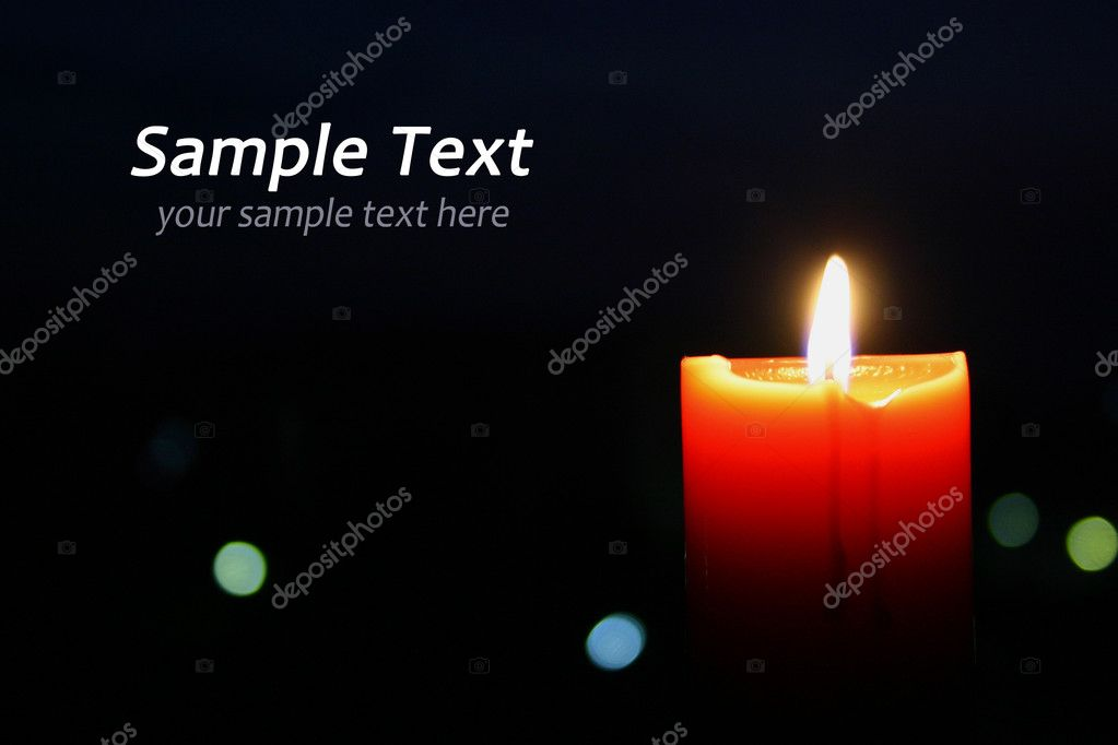A single burning orange candle isolated — Photo #9935714