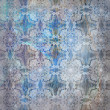 Floral design  background blue, scratches, old wall — Stockfoto