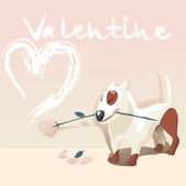 Valentine dog — Stock Vector
