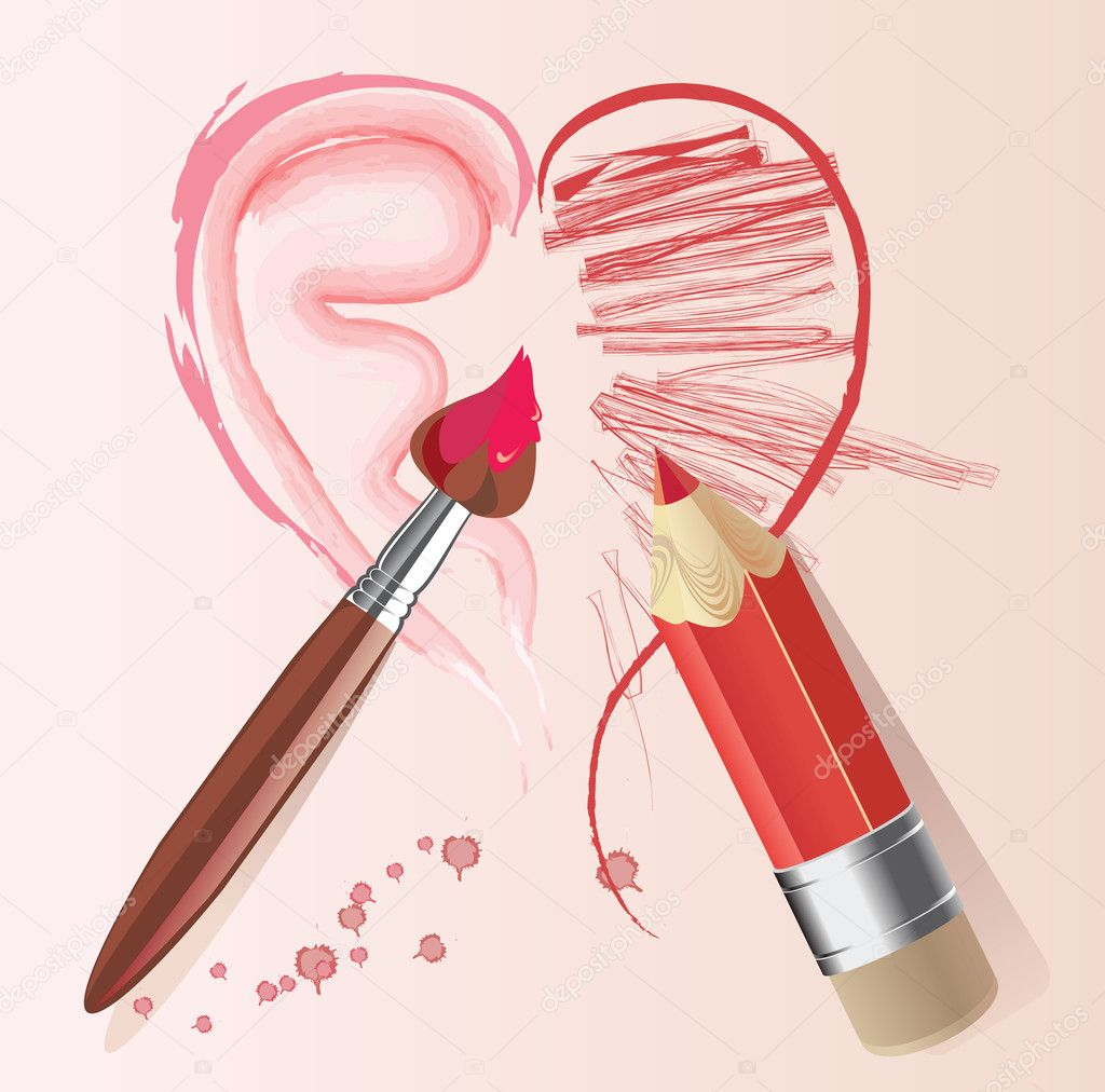 Love story heart brush and pencil — Stock Vector #8933015