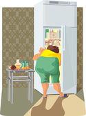 Diet, a glutton woman — Stock Vector