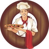 Pizza girl — Stock Vector