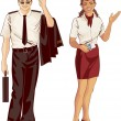Stock Vector: Flight attendant and pilot