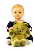 Doll and teddy bear — Stock Photo