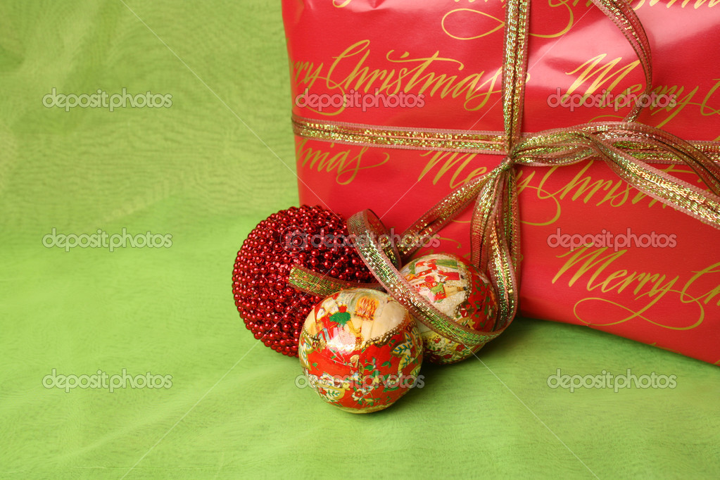 Brightly colored christmas gifts and decorations — Stock Photo #8099555