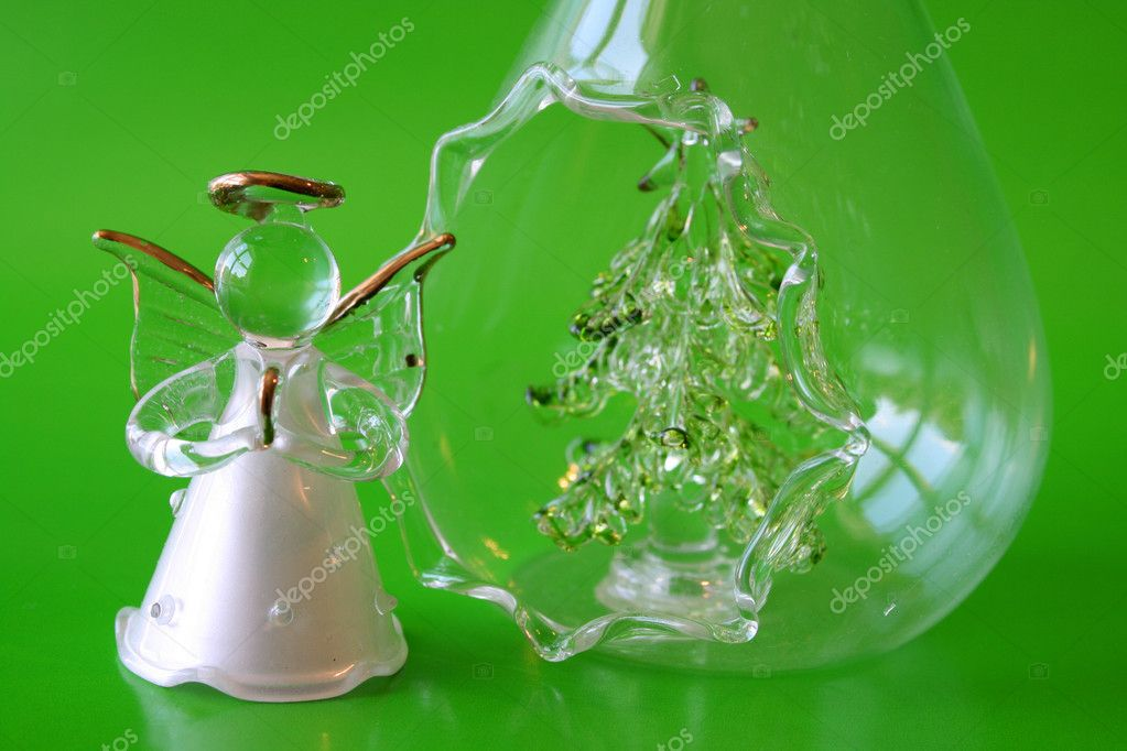 Glass Christmas decorations in the form of an angel and tree — Stock Photo #8154918