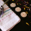 Stock Photo: Candles and Petals
