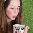 Tea Drinking Teen - Stock Photo