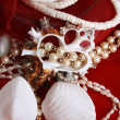 Seashells and jewelery - Stock Photo