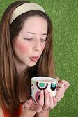 Tea Drinking Teen — Stock Photo