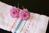 Hand Towel with pink — Stock Photo