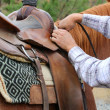 Stock Photo: Adjusting saddle