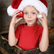 Playful Christmas boy - Stock Photo