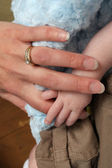 Mother and baby hands — Stock Photo