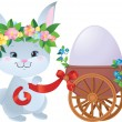 Easter Bunny with egg in a small cart — Stock Vector