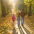Stock Photo: Young family walking in autumn park