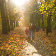 Young family walking in the autumn park — Stock Photo #8085269