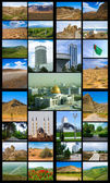 Collage of photos from the set of Turkmenistan Ashgabat on the b;ack — Stock Photo