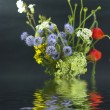 Bouquet of different wild flowers with reflection in the water on a dark ba — 图库照片