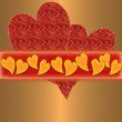 Red hearts on the gold background — Stock Photo