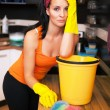Attractive overworked  woman in kitchen — Foto de Stock