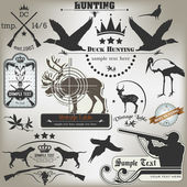 Set of vintage labels on hunting — Stock Vector