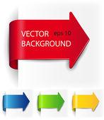 Vector pijlen weergegeven in de vorm van papier stickers — Stockvector
