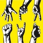 Set of gestures of hands in a vector — Stock Vector